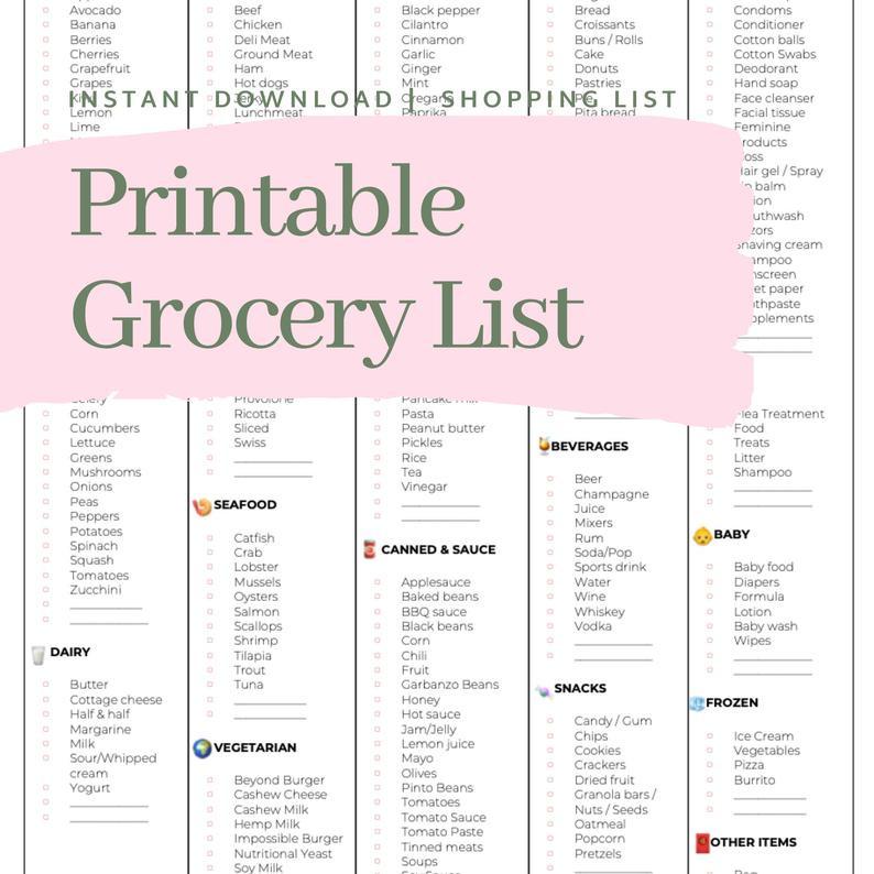 Master Grocery List Printable Shopping List Instant  Shopping List