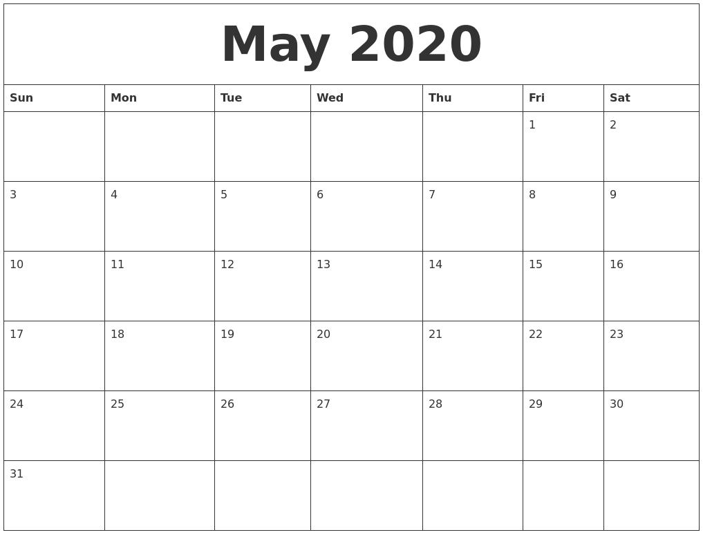 May 2020 Large Printable Calendar  Free Large Print Monthly Calendar