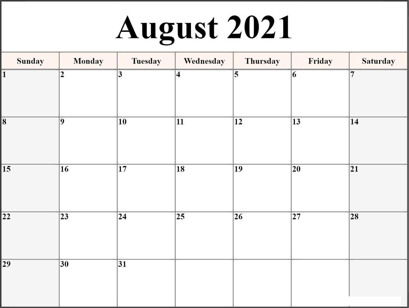 Microsoft Word 2021 Printable Monthly Calendar With  2021 2021 Monthly Calendar Printable Free
