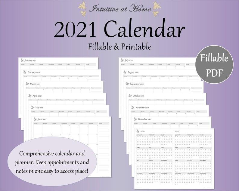 Mini 2021 Calendar Printable Gray Fillable Monthly  Fillable 2021 Calendar Template