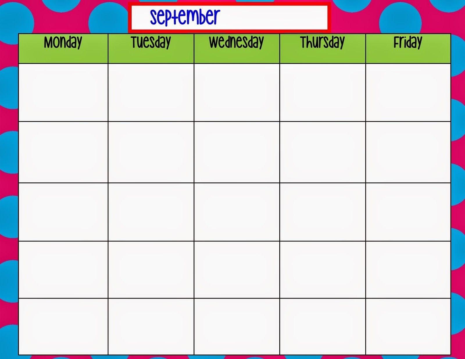 Monday Through Friday Planning Template | Calendar  Monday Through Friday Schedule