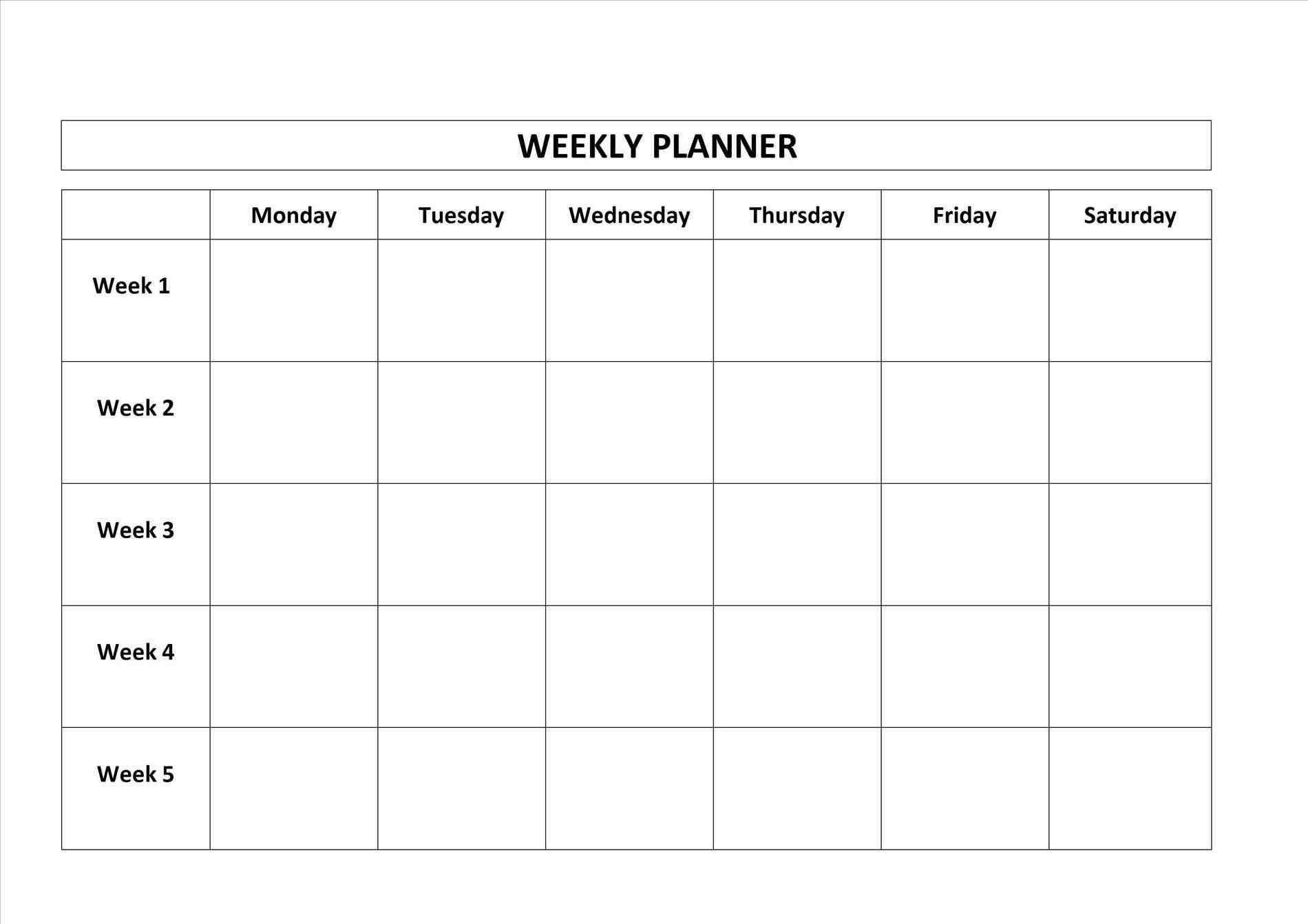 Monday To Friday Blank Calendar | Calendar Template Printable  Monday Through Friday Schedule