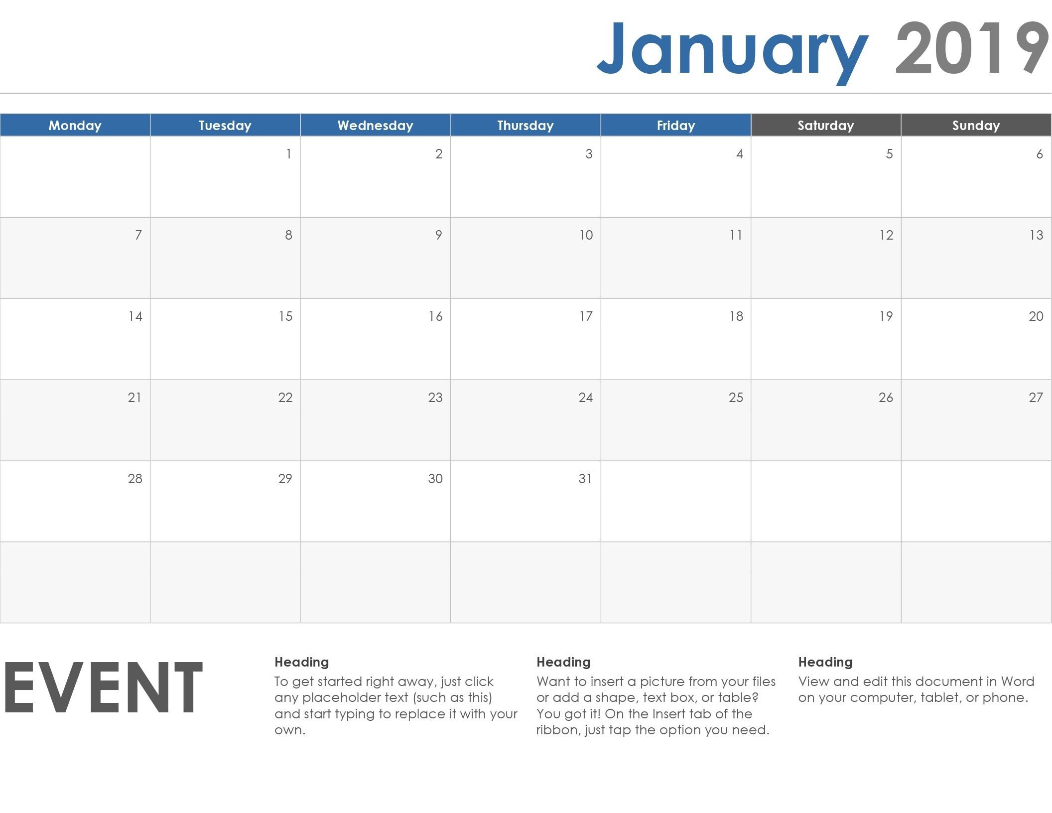 Monday To Friday Calendar Template | Calendar Template  Editable Monday-Friday Shedule