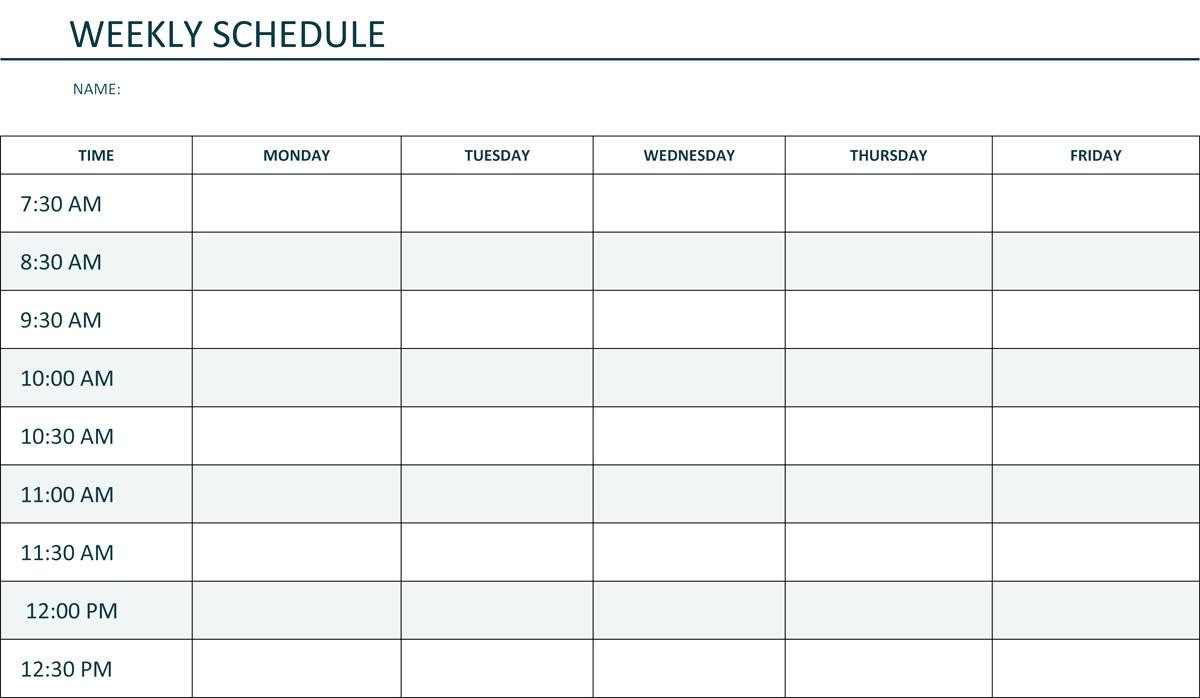 Monday To Friday Schedule Template | Example Calendar  Editable Monday-Friday Shedule
