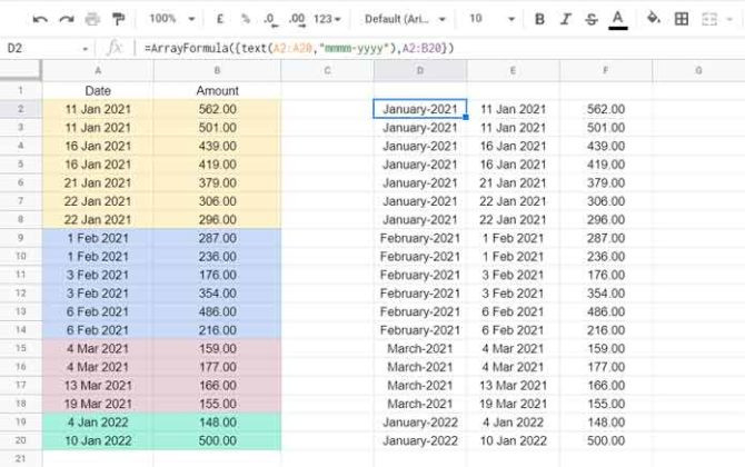 Month End Rows From Daily Data In Google Sheets  If Month Column
