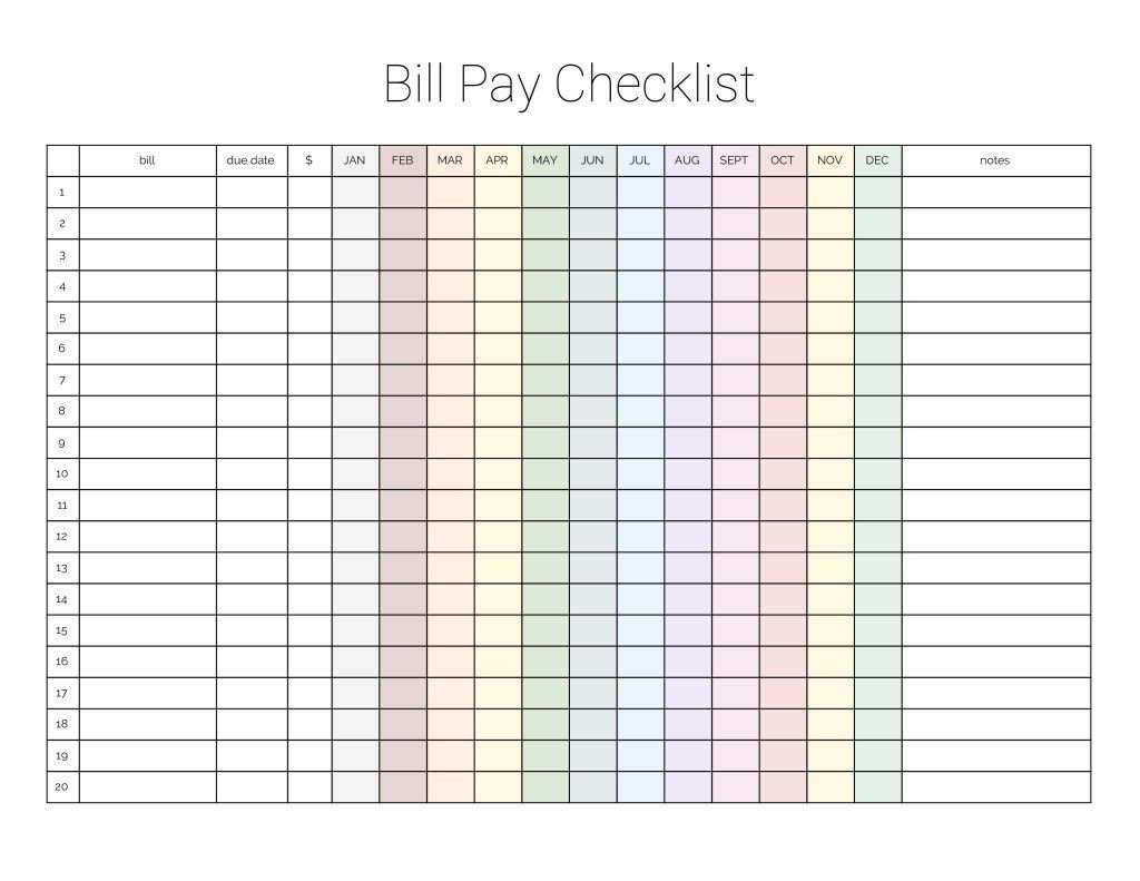 Monthly Bill Payment Checklist {Printable | Bill Payment  Free Bill Pay Worksheet