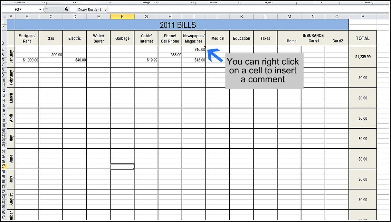 Monthly Bills Spreadsheet Template Excel | Akademiexcel  Monthly Bills Task Sheet