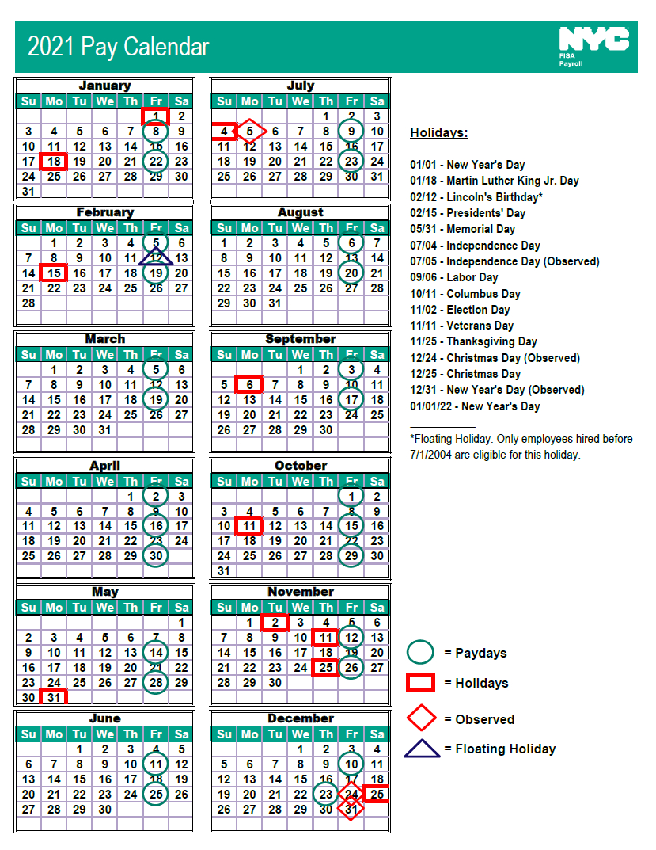 Nyc Doe Payroll Calendar 2021   Payroll Calendar  2021Pay Calender Gs Employee