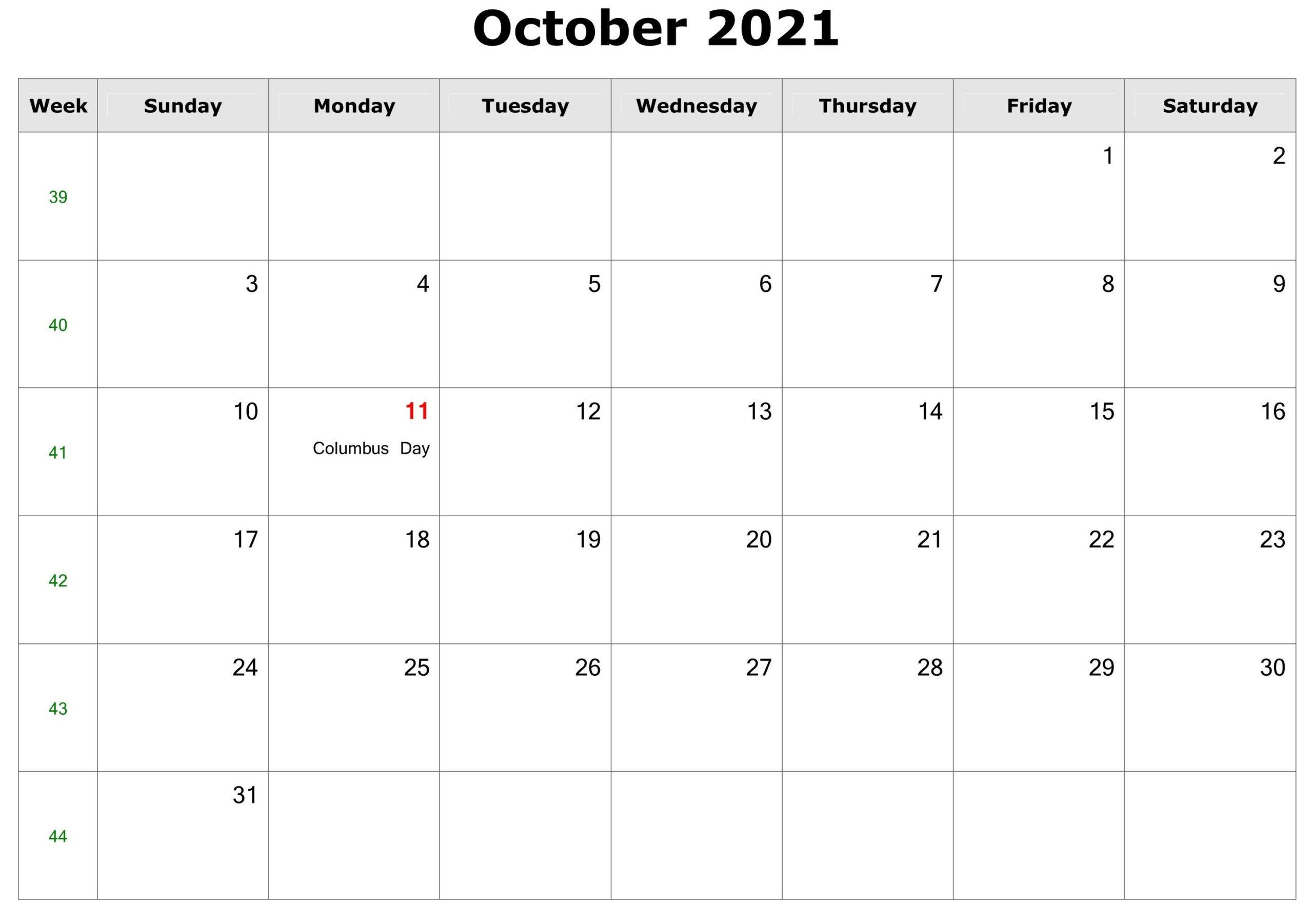 October 2021 Calendar - Free Download Printable Calendar  Full Page Printable Monthly Calendar 2021