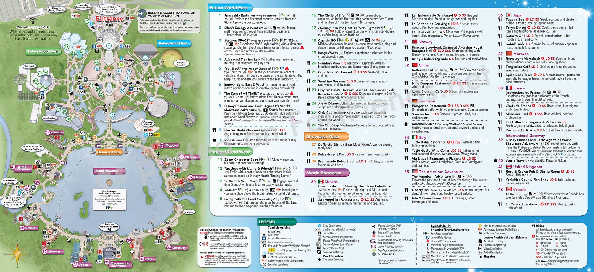 Park Map - Epcot (January 2015) - Park Maps - Fort Fiends  Disney World Attractions List Pdf