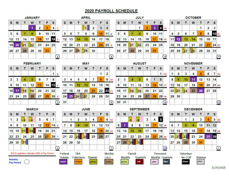 Payroll Calendar Printable For 2020  Federal Government Pay Period Chart Or 2021