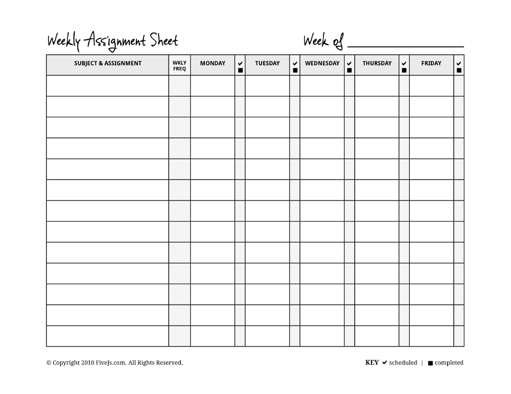 Pinjulie Seabury On Makin Bacon   Assignment Planner  Blank  Assignment Sheet