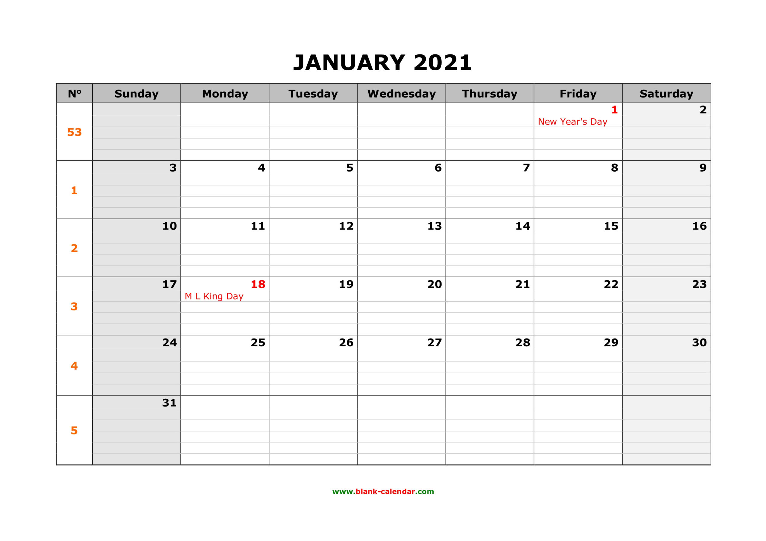 Print Free 2021 Yearly Calendar With Boxes | Calendar  Full Page Printable Monthly Calendar 2021