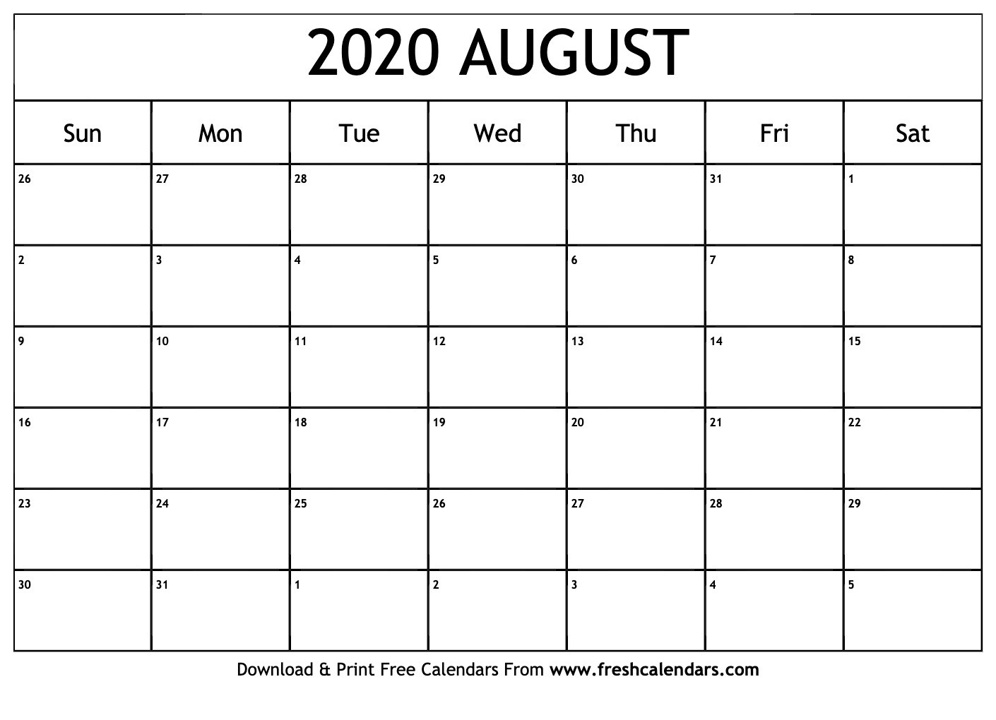 Print Free Calendars Without Downloading August 2020  Free Printable Calendar Without Download