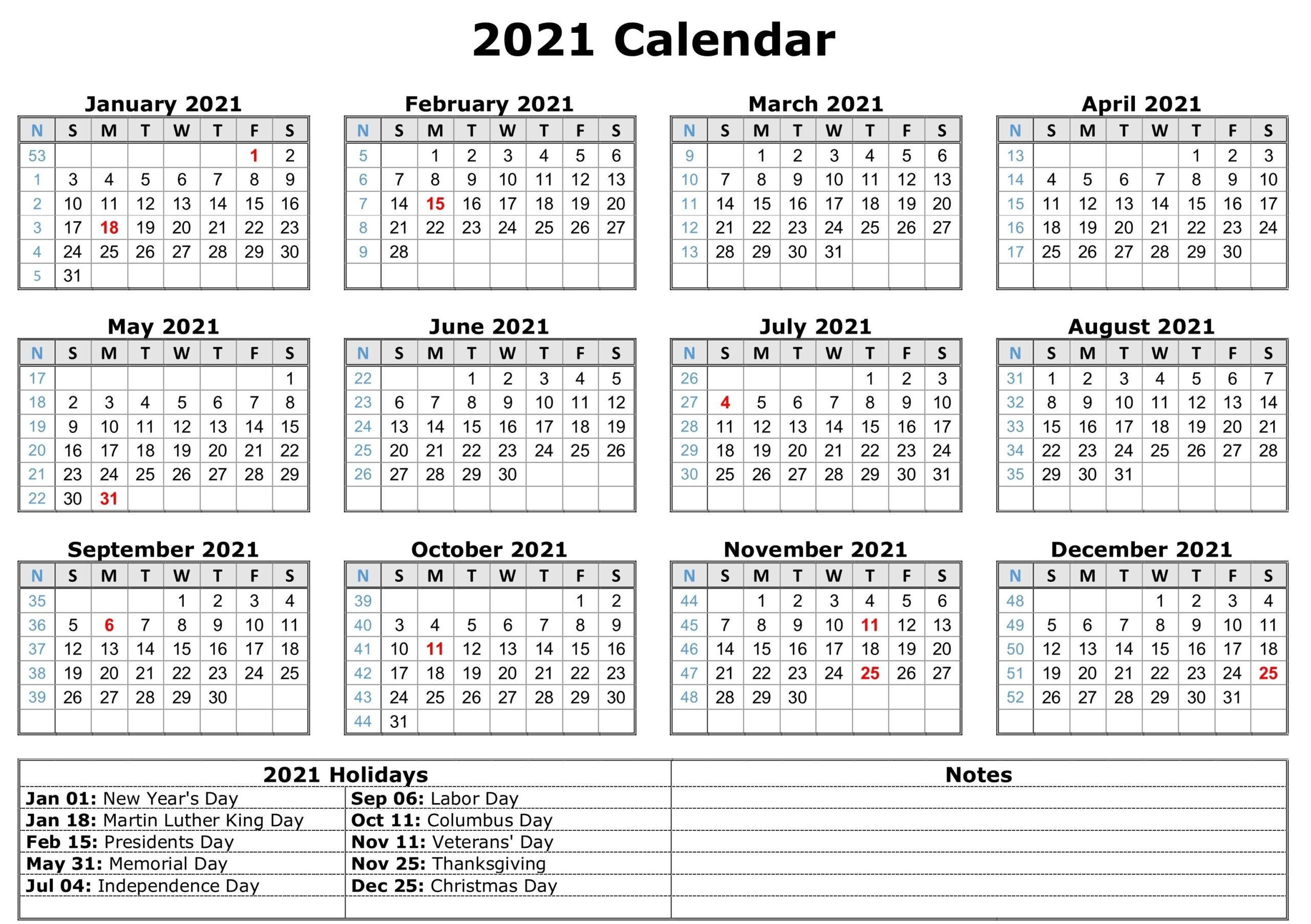 Print Pocket 2021 Calendar Free - Template Calendar Design  Fillable 2021 Calendar Template