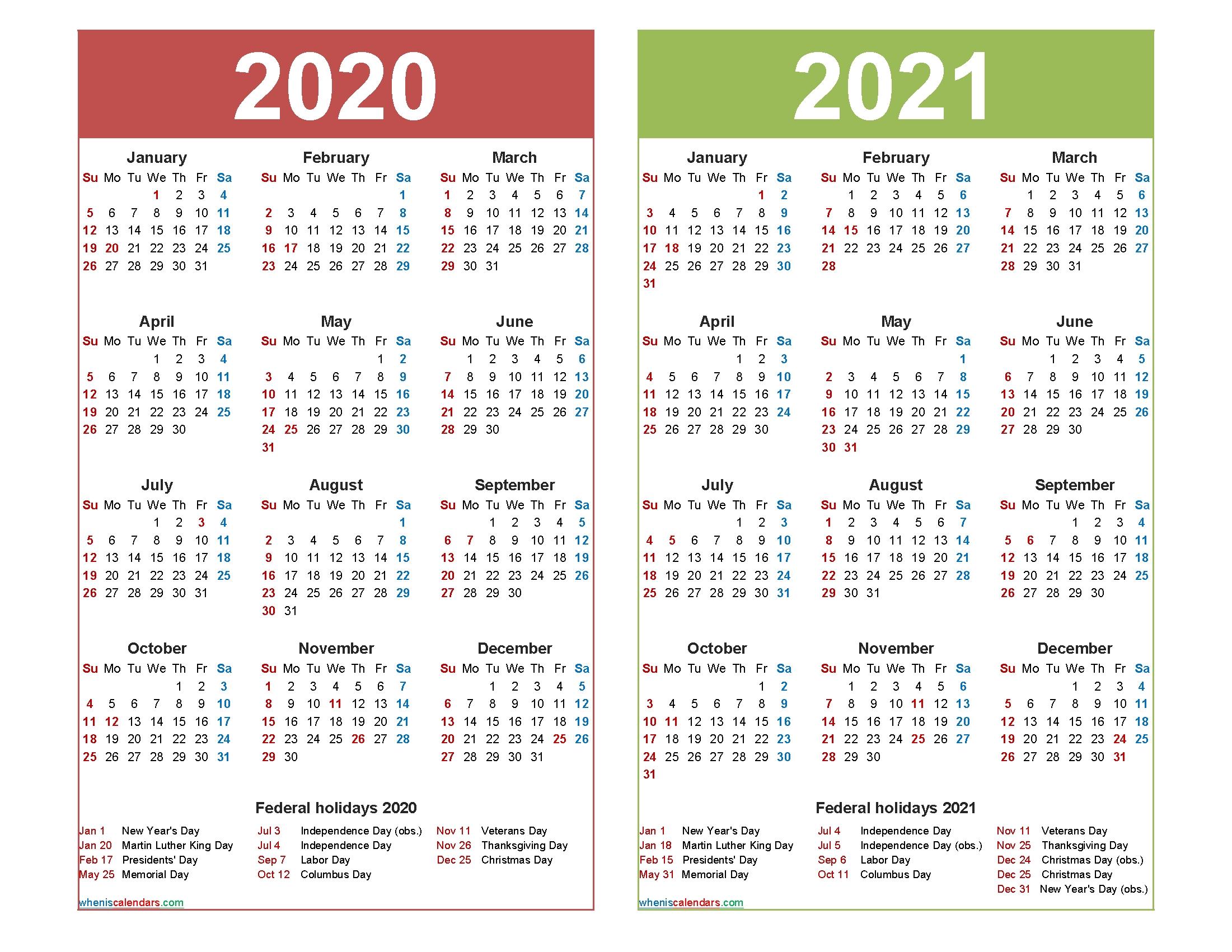 Printable 12 Month 2020 2021 Calendar - Template Calendar  2021 12 Month Calendar Printable Free Pdf