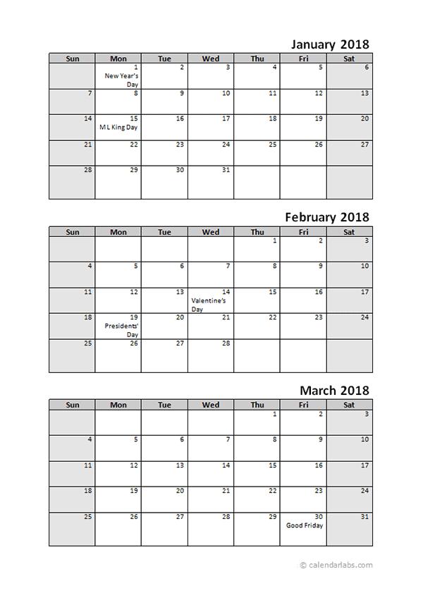 Printable 2018 Quarterly Calendar - 3 Months Templates  3 Month Calendar Template For Word