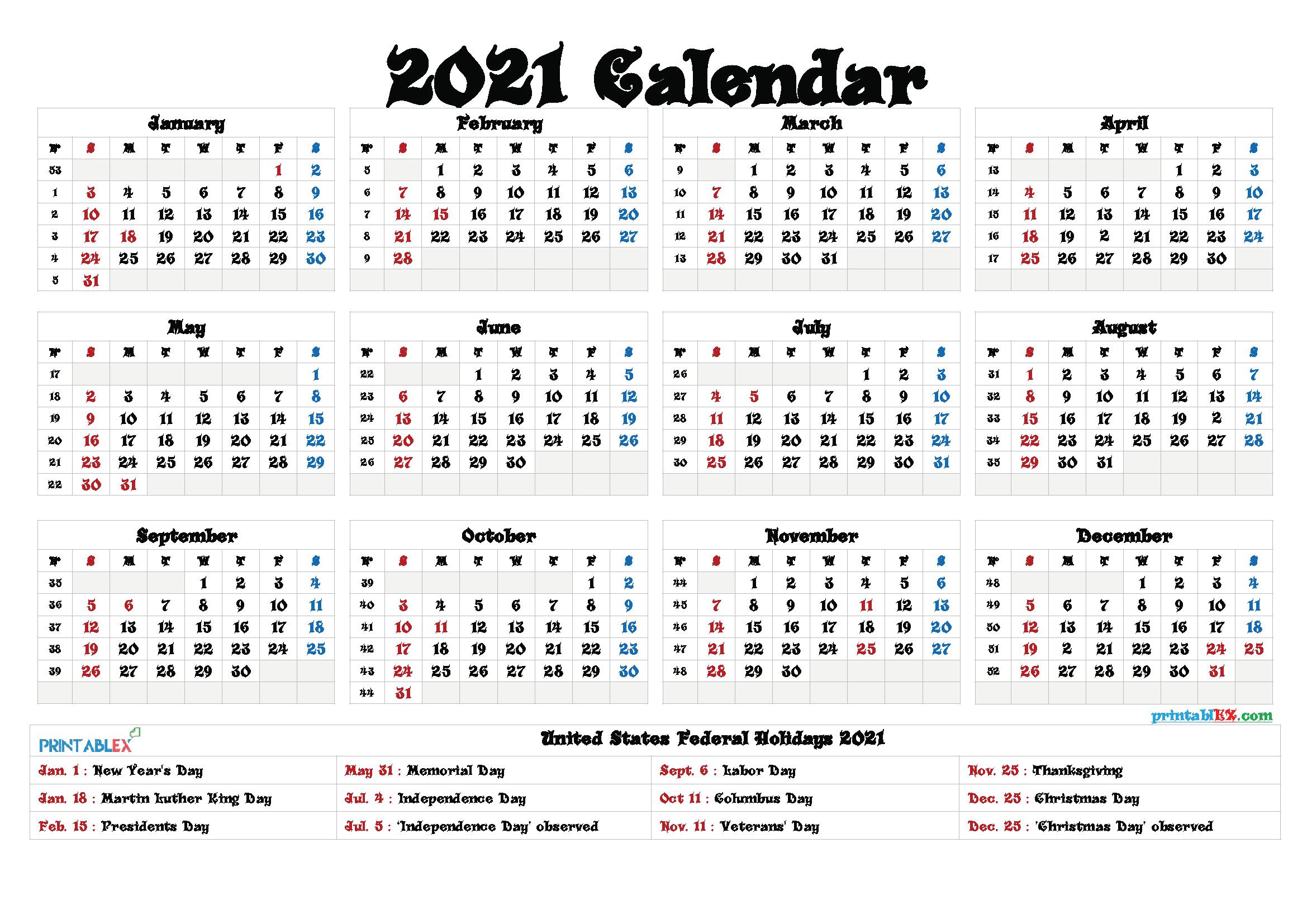 Printable 2021 Calendar With Federal Holidays | Printable  Easy To Print 2021 Calendar