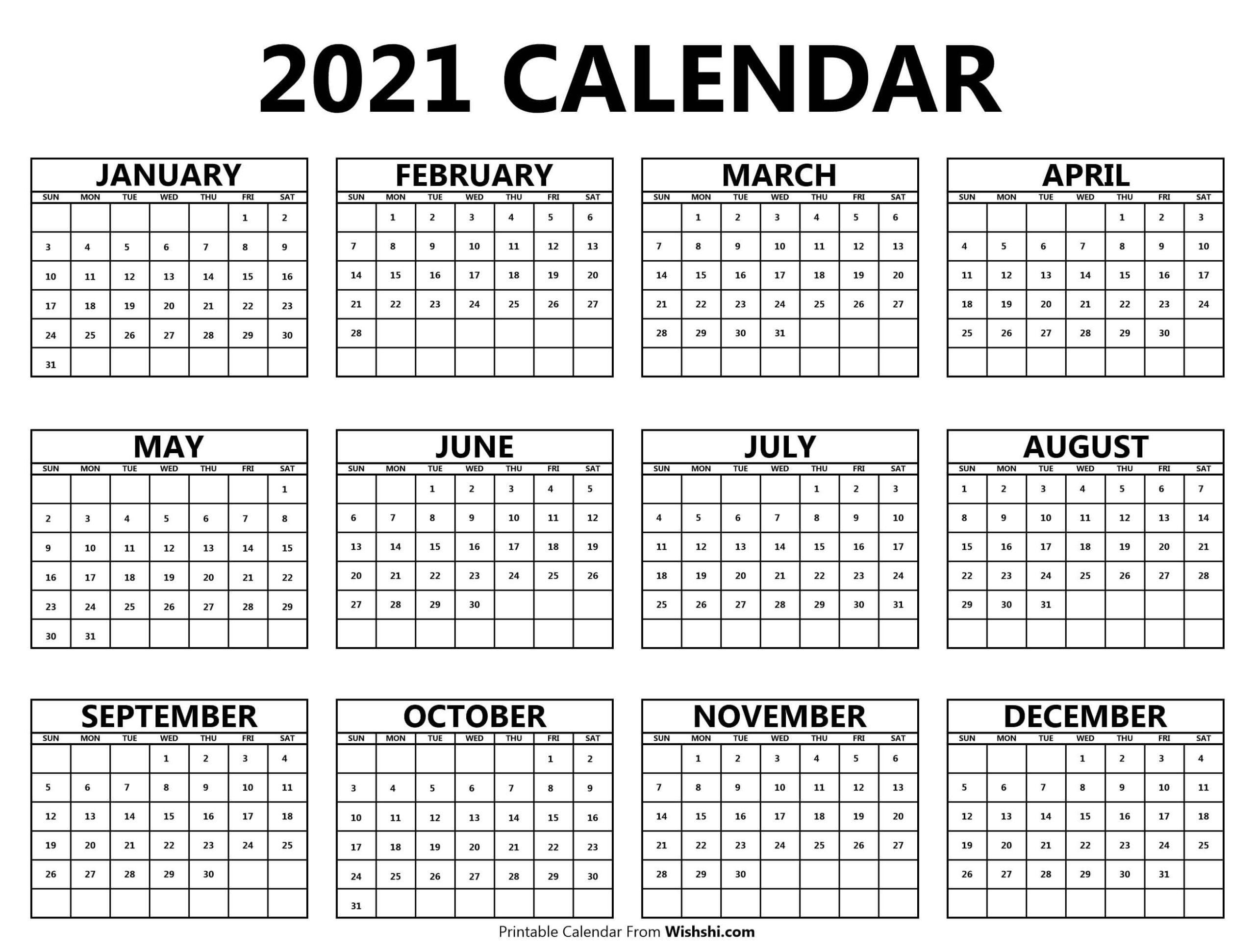 Printable 2021 Yearly Calendar - Free Printable Calendars  2021 Yearly Calendar Printable Free