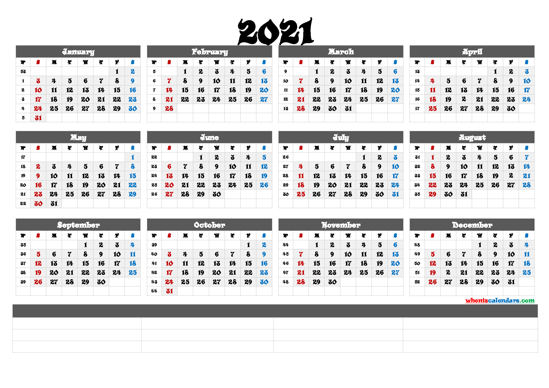 Printable 2021 Yearly Calendar With Week Numbers (6 Templates)  2021 Calendar Template Large Print
