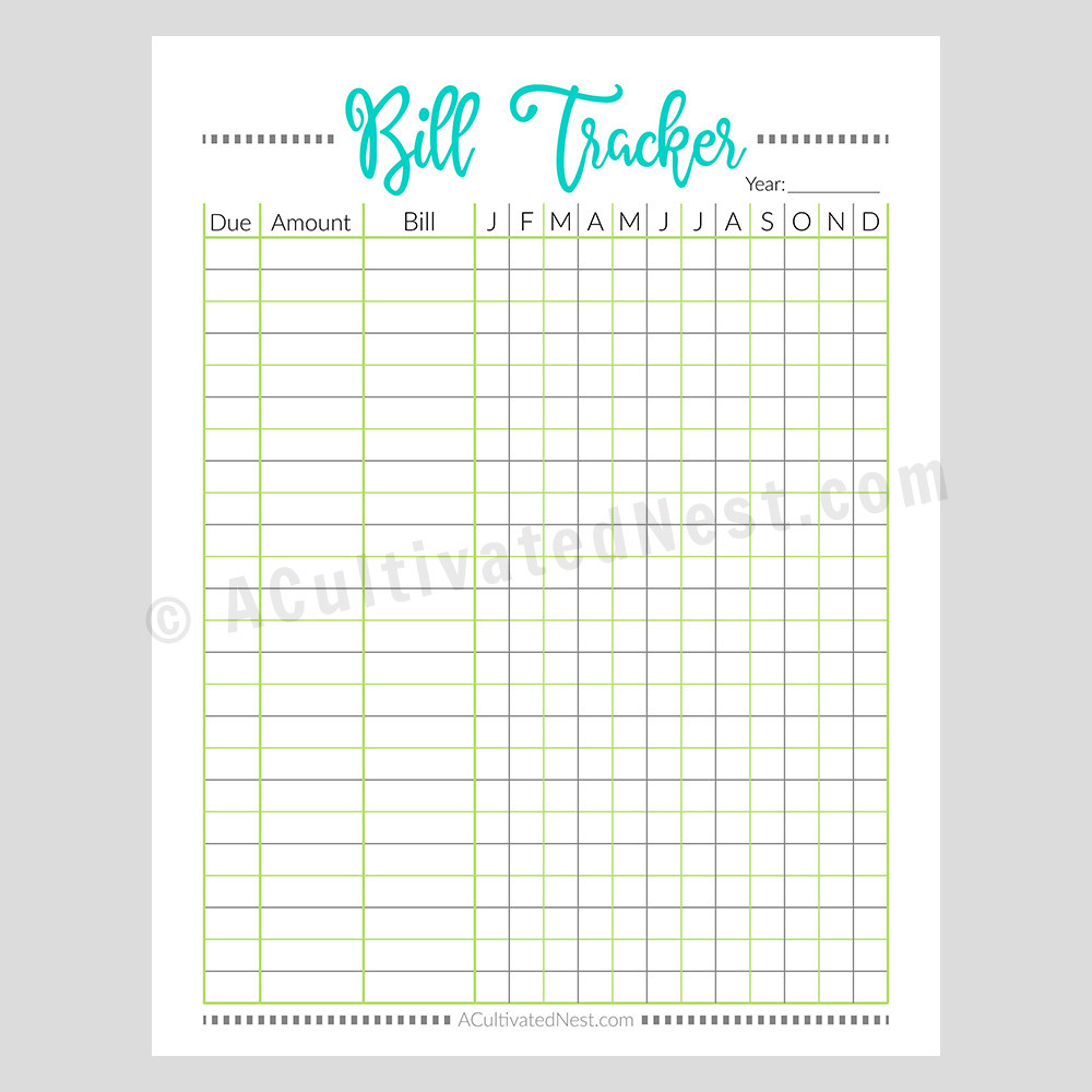 Printable Bill Tracker Worksheet: Pixels- A Cultivated Nest  Free Bill Pay Worksheet