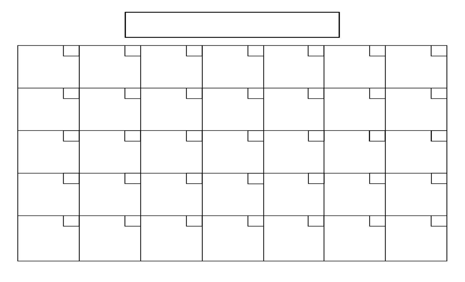 Printable Blank Calendar Grid | Example Calendar Printable  Monthly Calendar Template