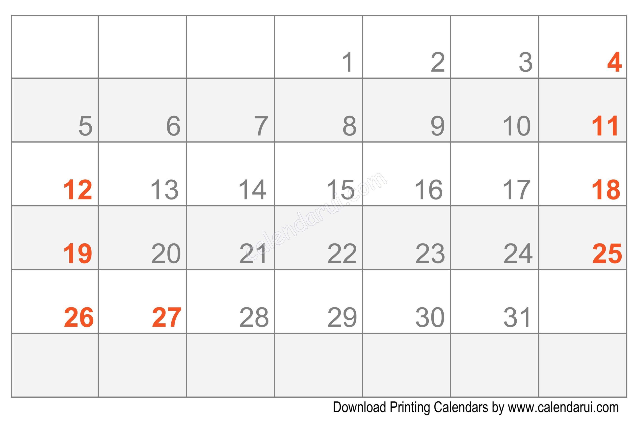 Printable Blank Calendar Template Free | Calendar Template  Free Printable Calendar Fill In