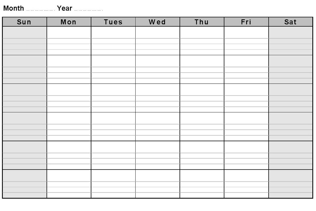 Printable Blank Monthly Calendars   Activity Shelter  Monthly Appointment Calendar Free Printable