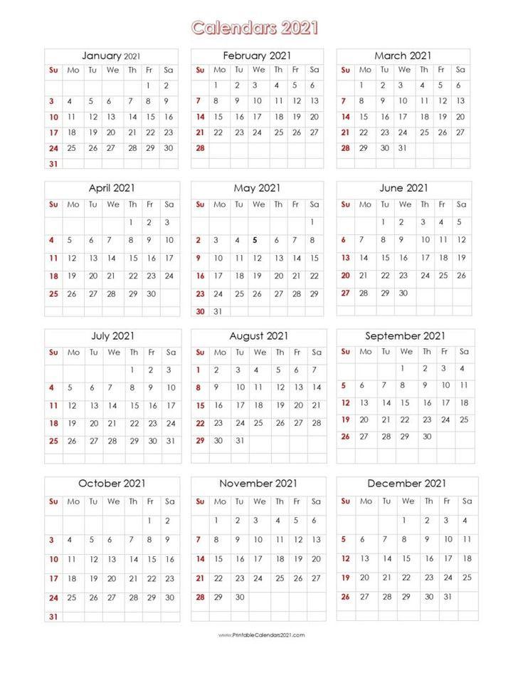 Printable Calendar 2021 One Page In 2020 | Printable  4 Months Per Page Calendar 2021 Printable