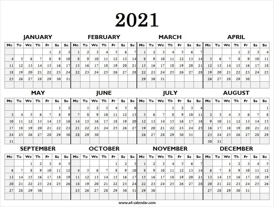 Printable Calendar 2021 Starting Monday - Calendar 2021  4 Months Per Page Calendar 2021 Printable