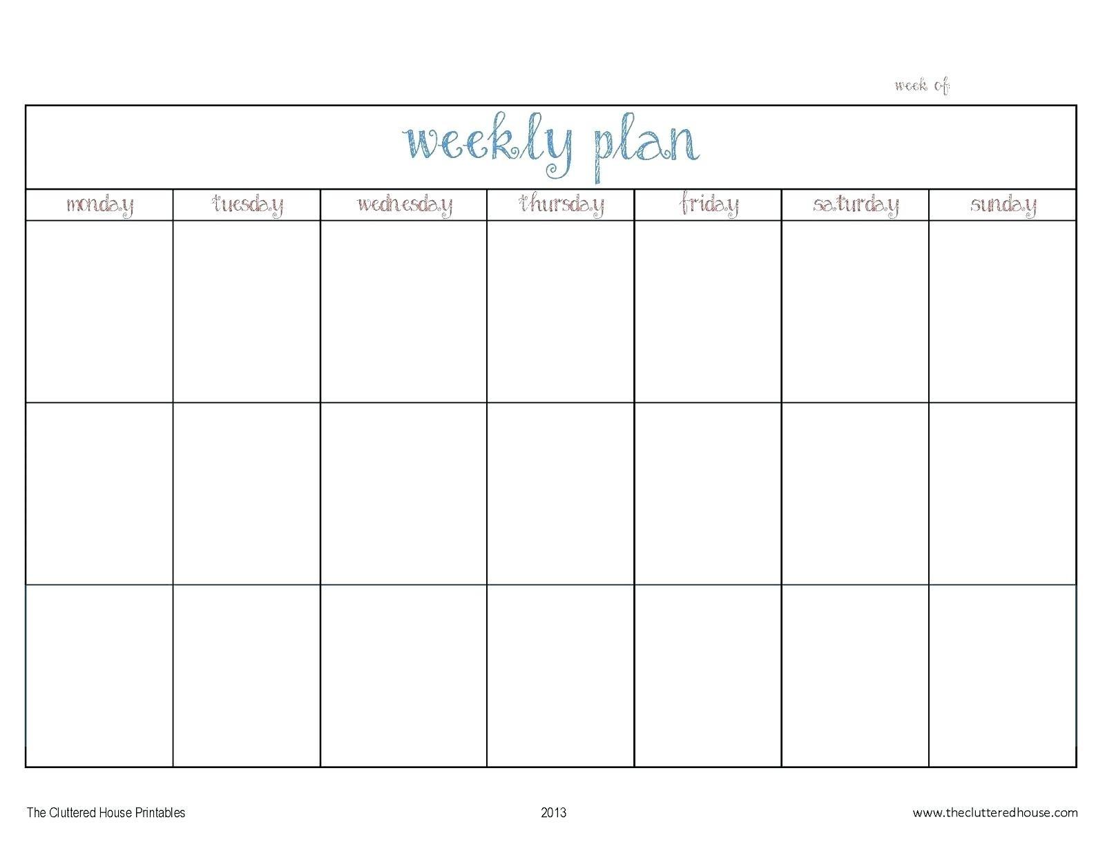 Printable Calendar Monday Through Friday | Example  Weekly Planner Printable Monday Through Friday