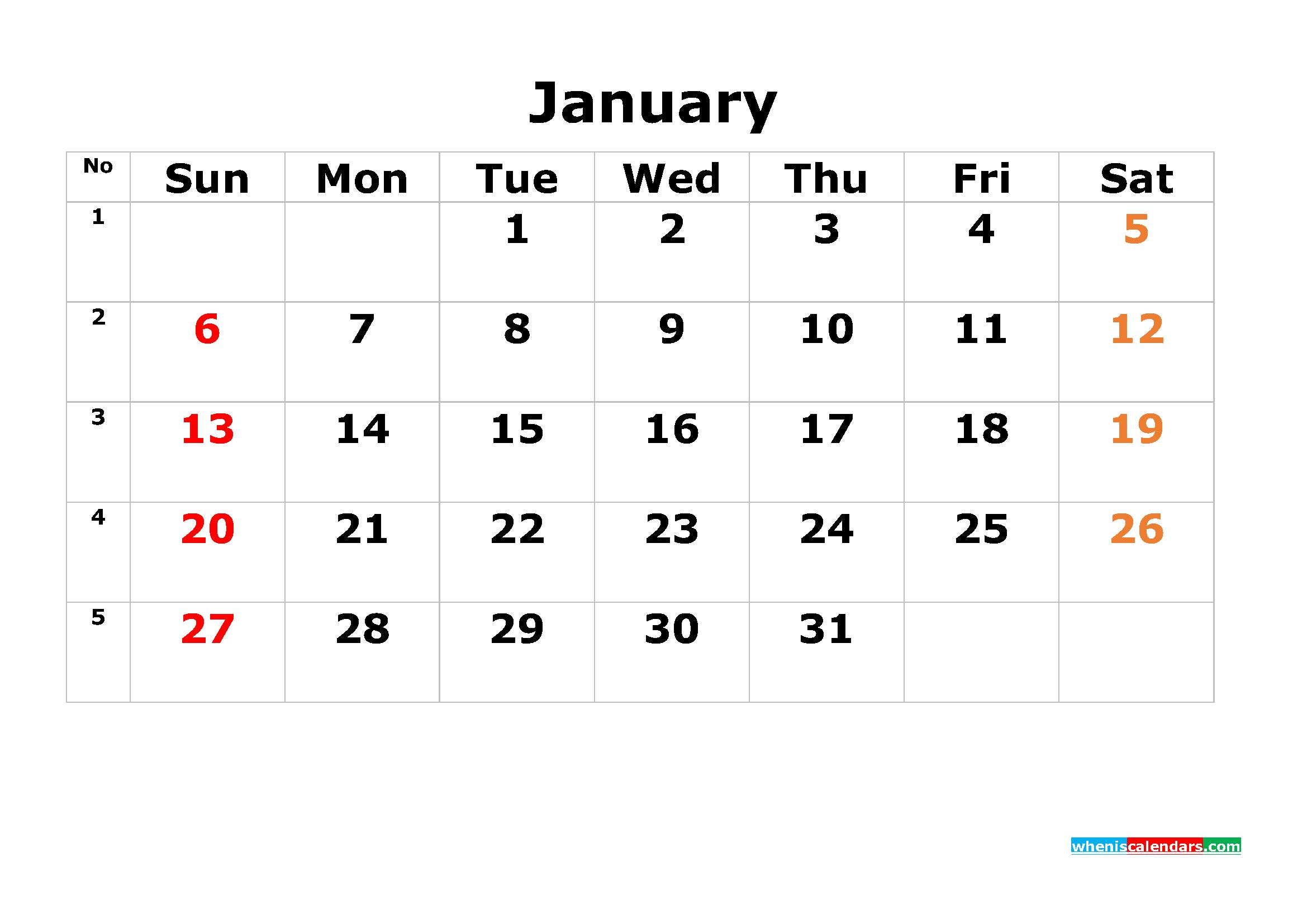 Printable Calendar Template January 2019 As Pdf And Image  Free 12 Month Editable Calendars