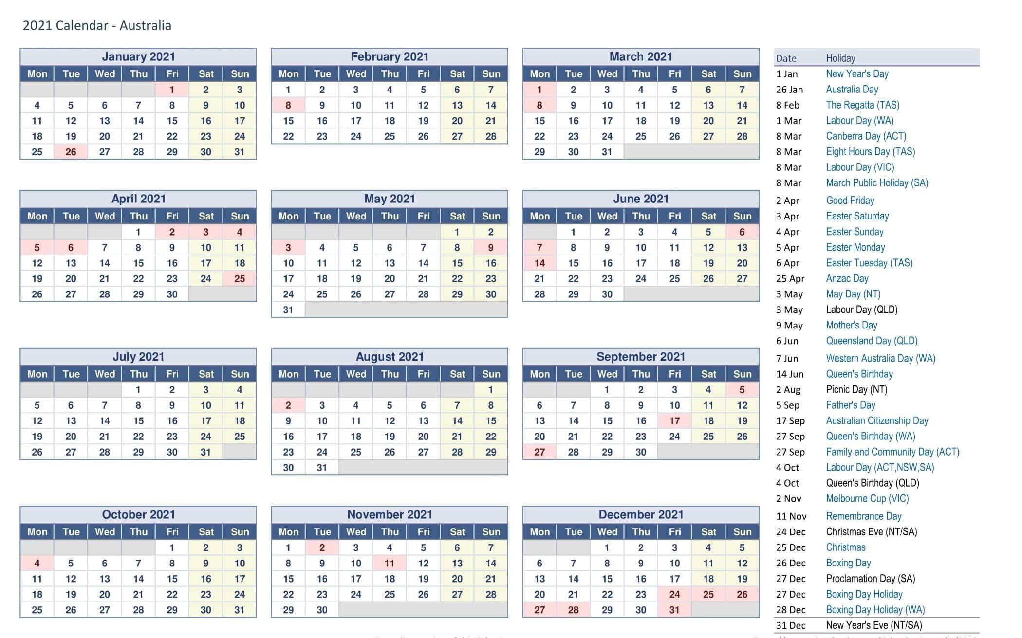 Printable Calendar Year 2021 Holidays Fillable Pdf - Set  Fillable 2021 Calendar Template