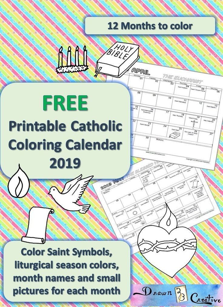 Printable Catholic Coloring Calendar 2019 | Catholic  Catholic Liturgical Calendar Lesson Plans
