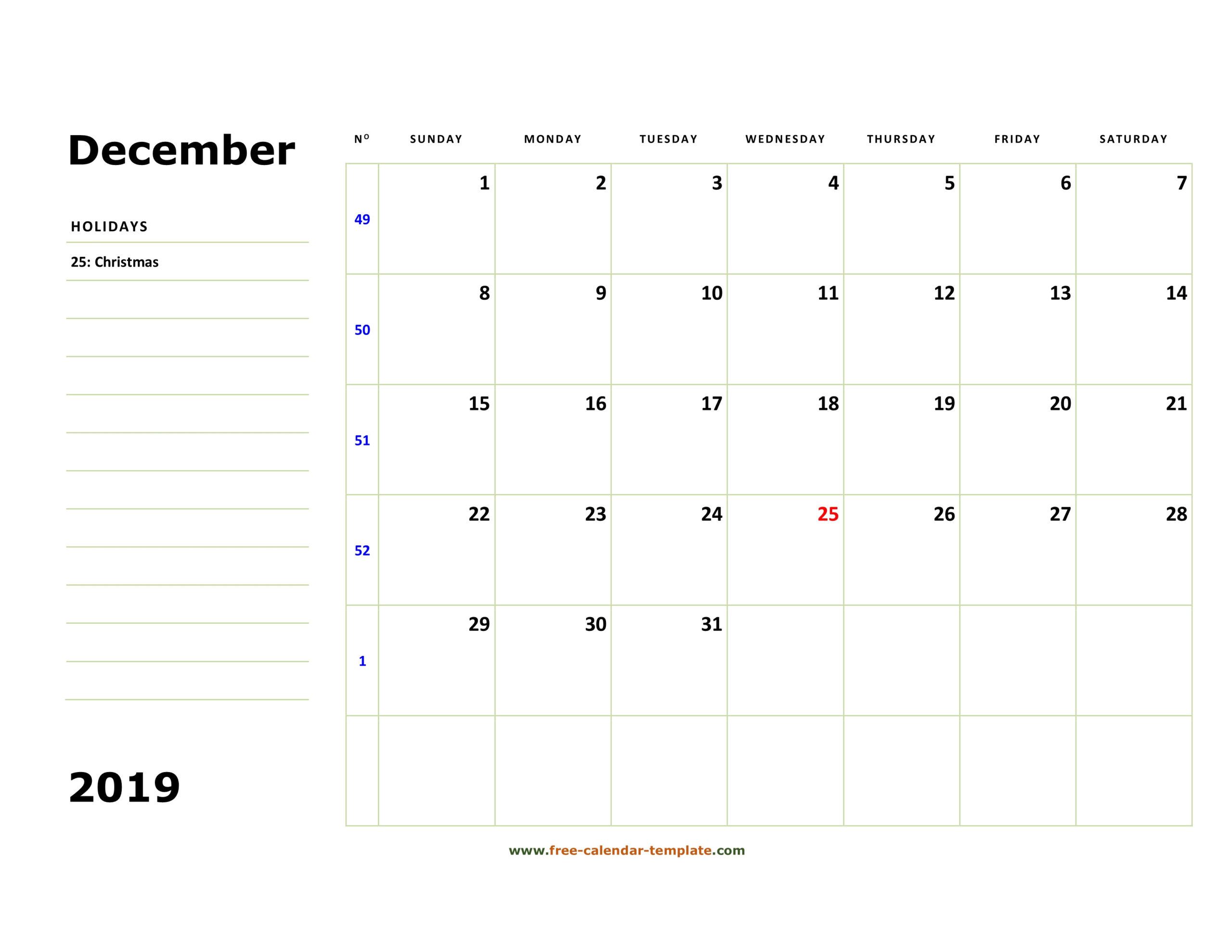 Printable December 2019 Calendar (Box And Lines For Notes  Printable Word Calendar With Lines