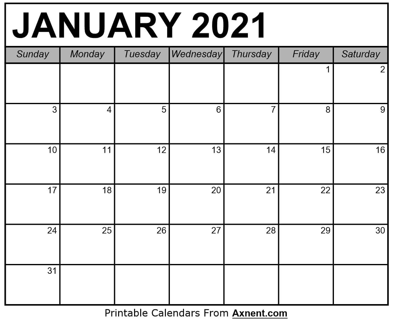 Printable January 2021 Calendar Template - Time Management  Word January 2021 Template