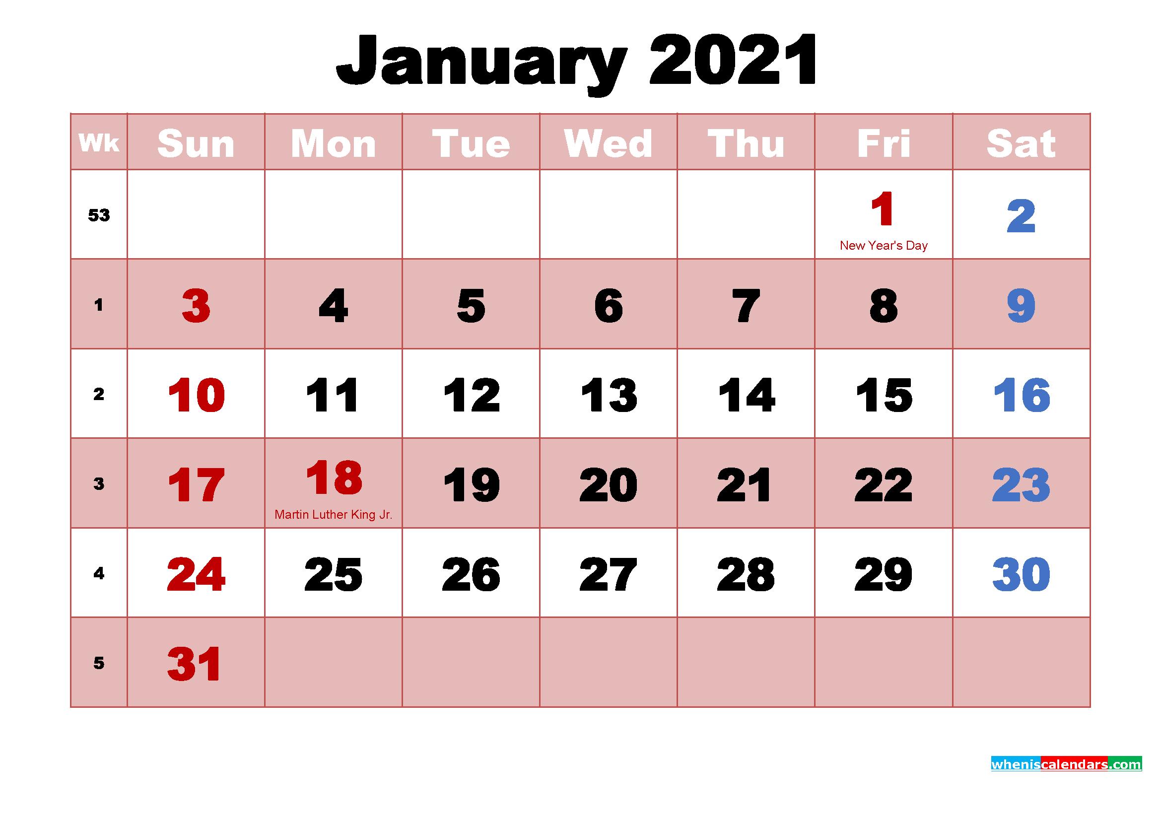 Printable January 2021 Calendar Word | Free Printable 2020  Word January 2021 Template