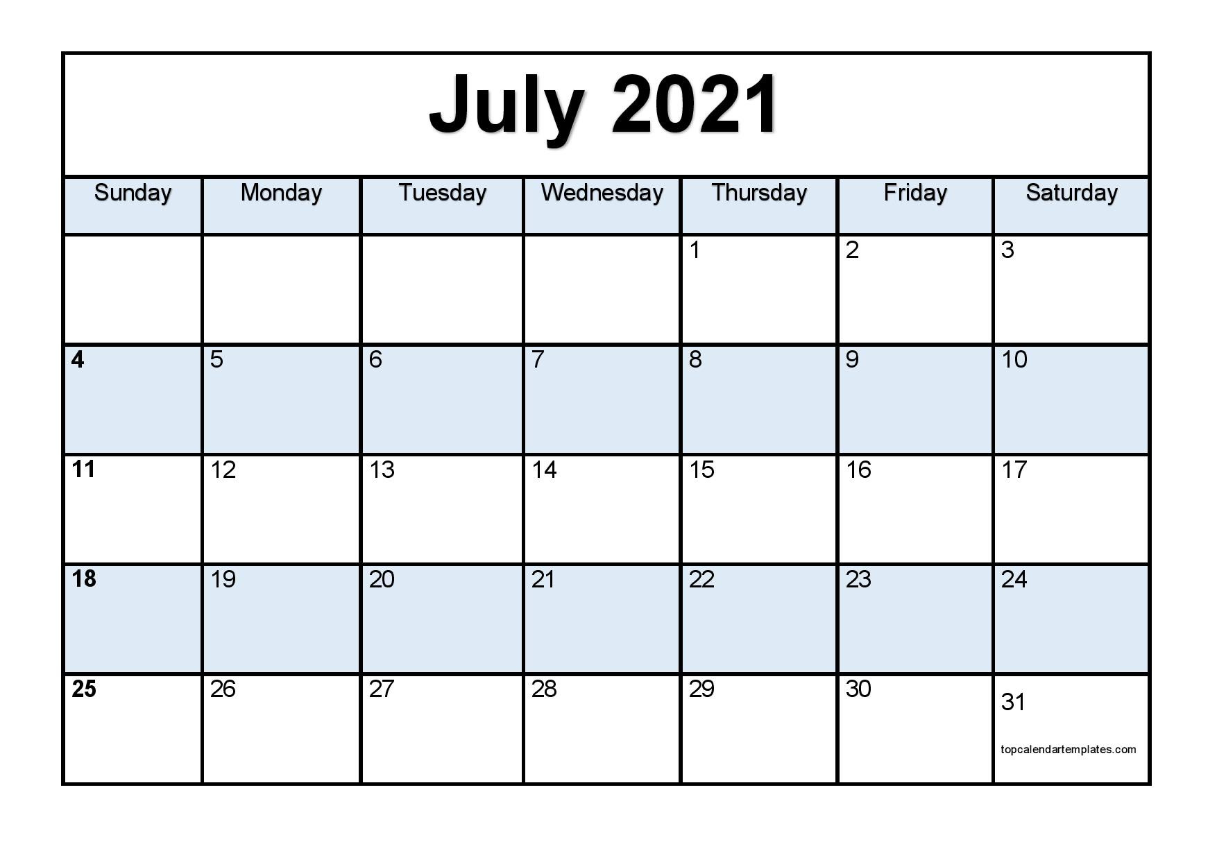 Printable July 2021 Calendar Template - Pdf, Word, Excel  Depoprecara Calendar  July 2021