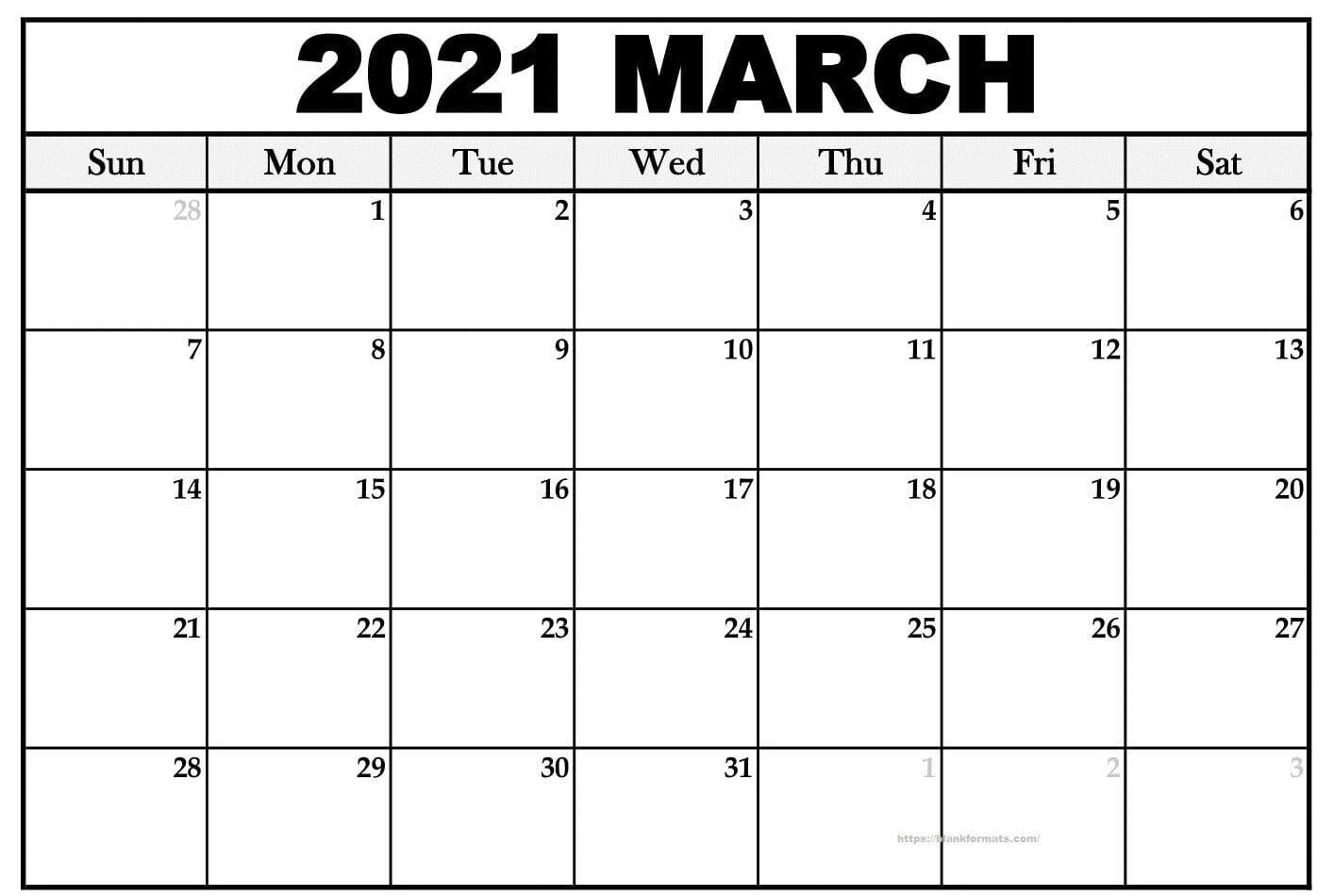 Printable March 2021 Calendar - Pdf, Word, Excel Sheet  Printable March 2021 Calendar Pdf