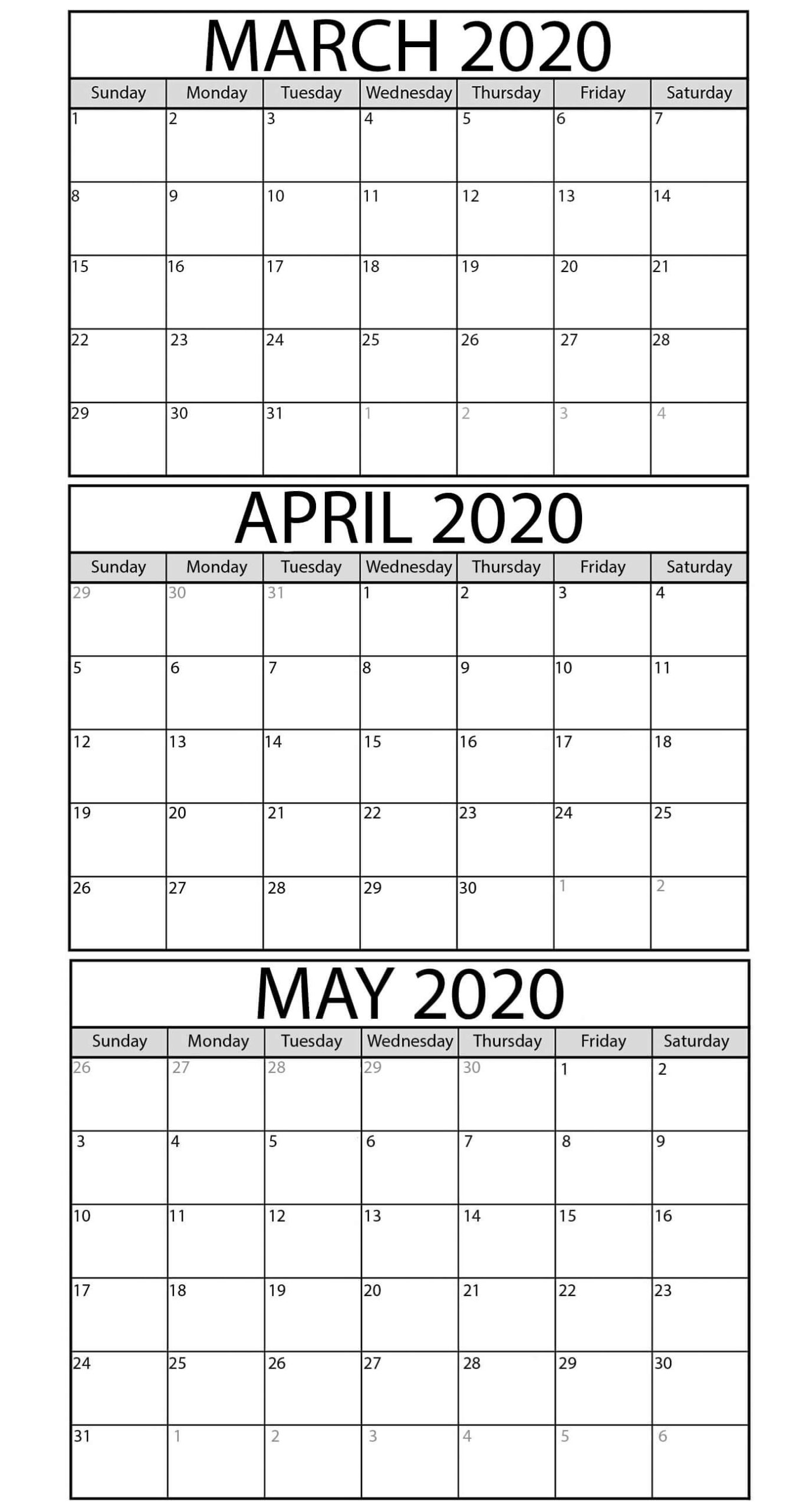 Printable March To May 2020 Calendar Templates - 2019  3 Month Calendar Template For Word