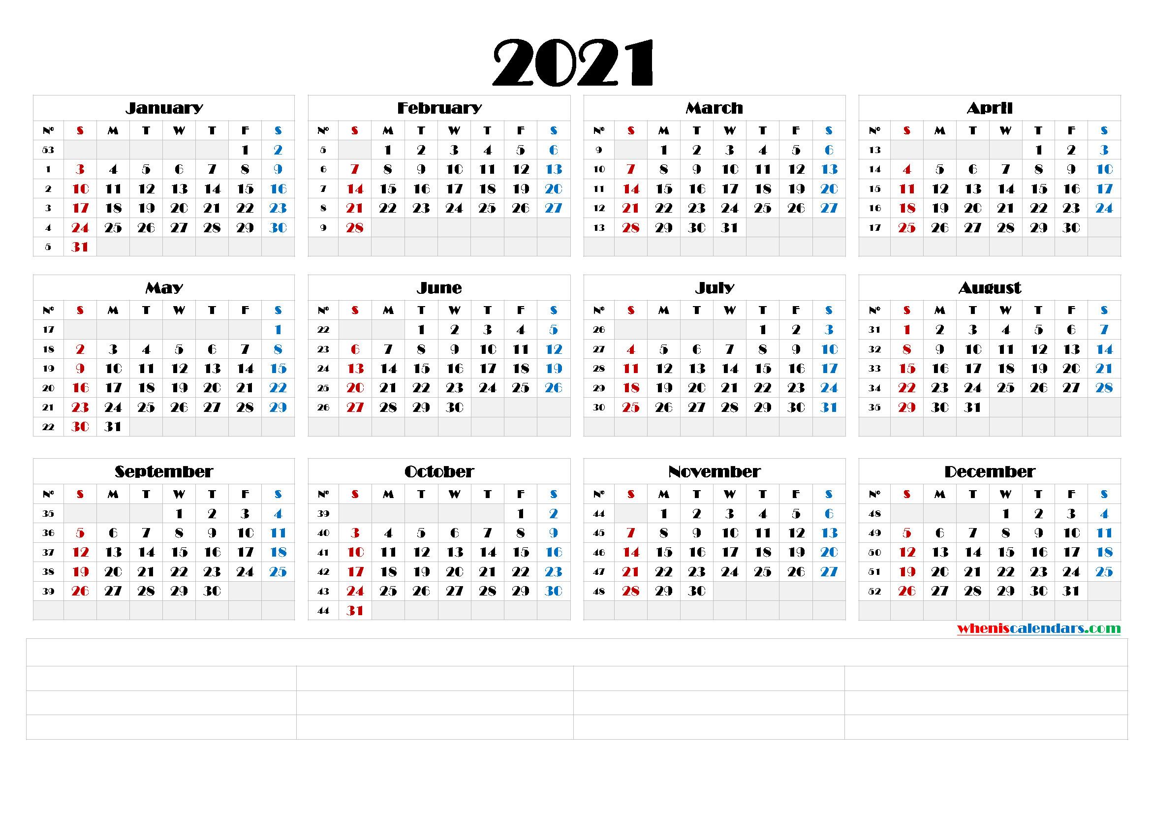 Printable Monthly 2021 Calendar Template Word : Printable  2021 Calendar Template Large Print