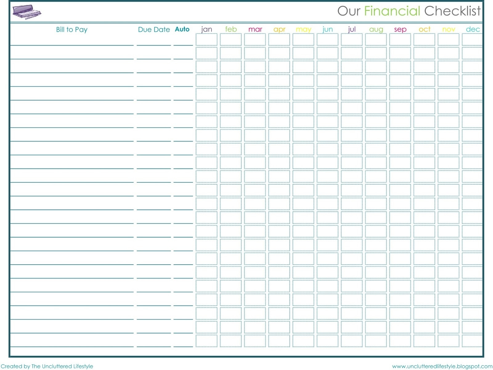 Printable Monthly Bill Payment Chart - Calendar  Free Bill Pay Worksheet
