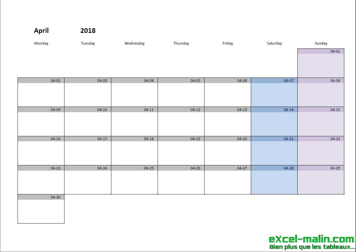 Printable Monthly Calendar Template For Excel | Excel  Monthly Calendar Template