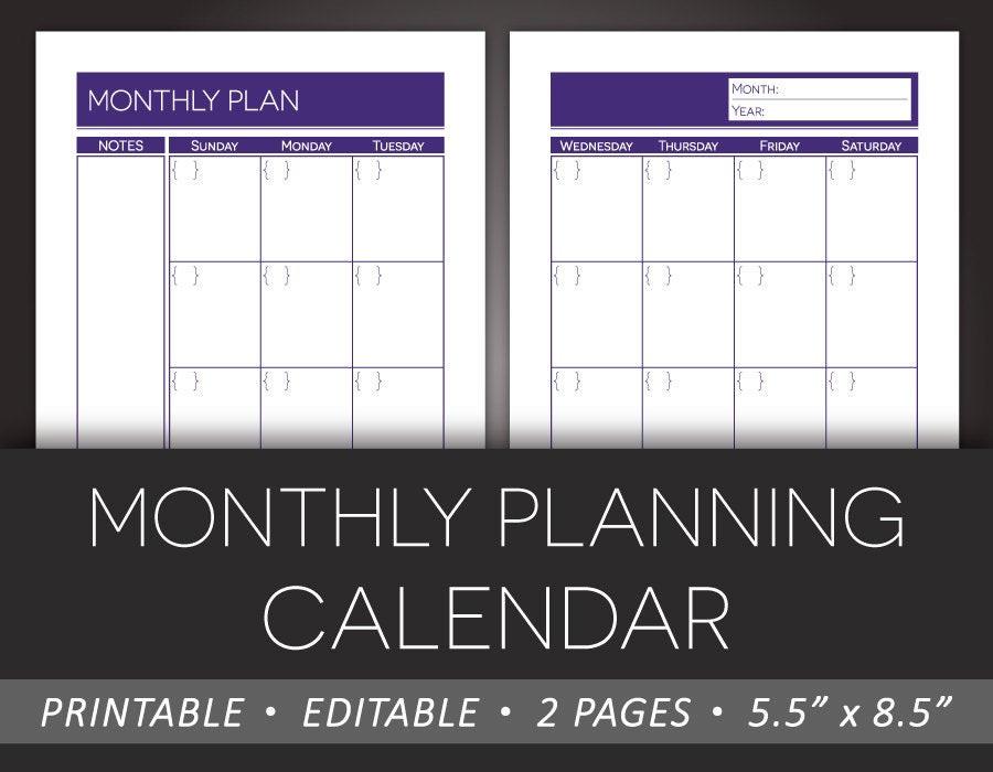 Printable Monthly Planner Editable Calendar Monthly Planning  Editable Monthly Calendar Printable