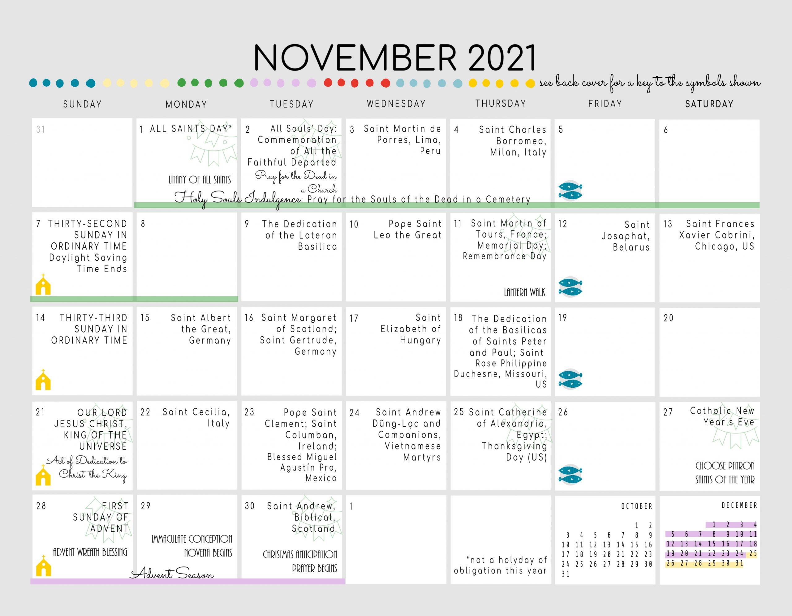 Printable Roman Catholic Calendar 2021 | Free 2021  Liturgical Year Methodist 2021