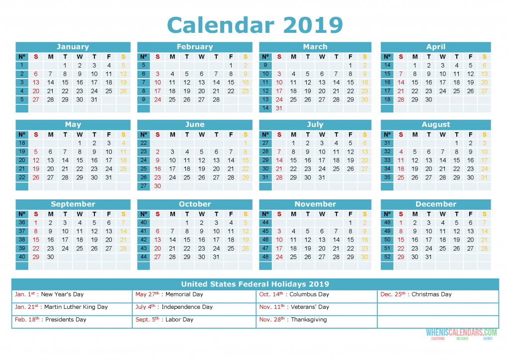 Printable Yearly Calendar 2019 With Holidays As Pdf And  Yearly Calendar