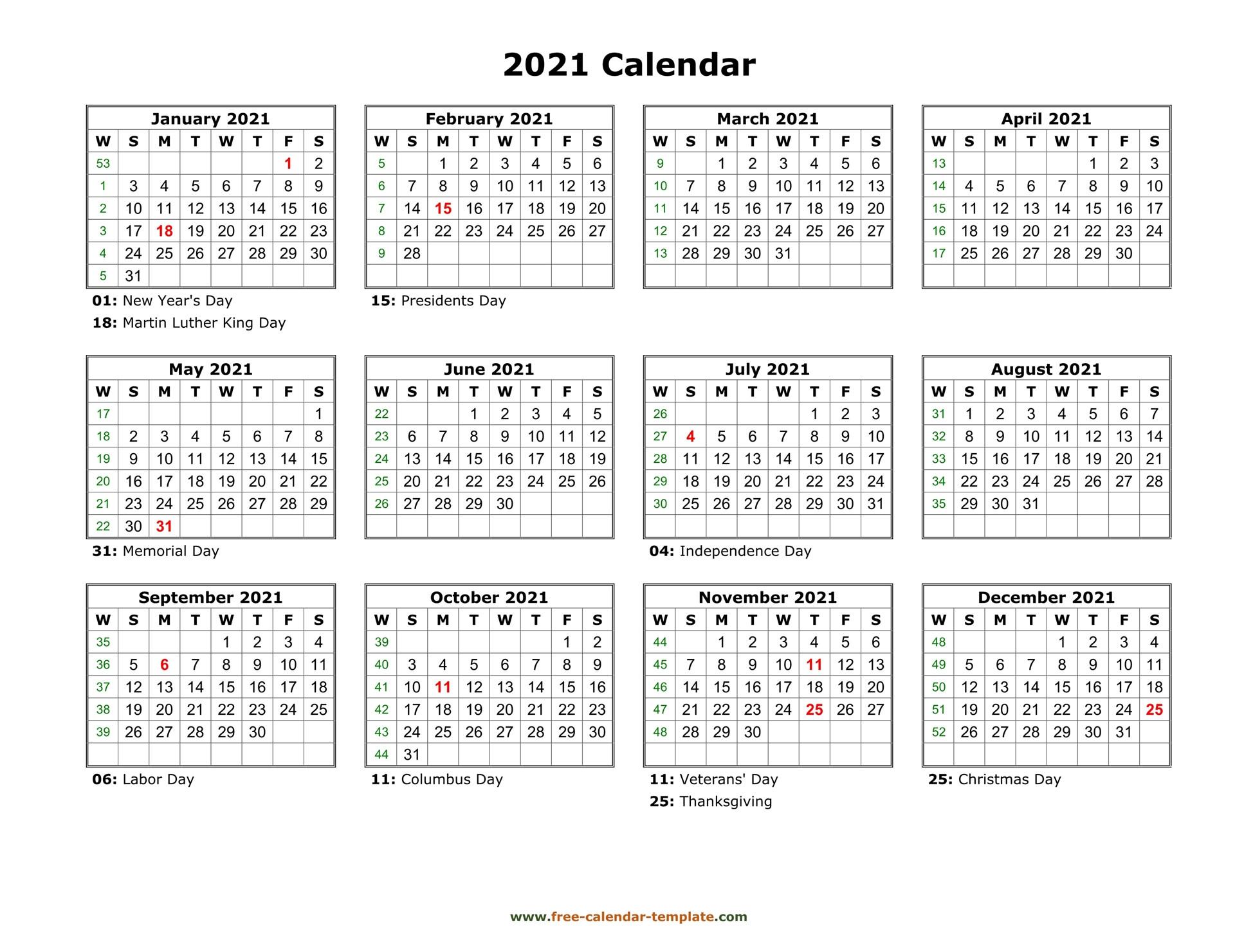 Printable Yearly Calendar 2021 | Free-Calendar-Template  2021 2021 Monthly Calendar Printable Free