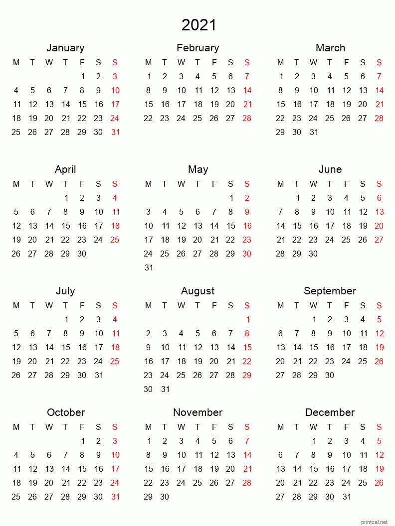 Printable Yearly Calendar 2021, Full-Year | Free Printable  4 Months Per Page Calendar 2021 Printable