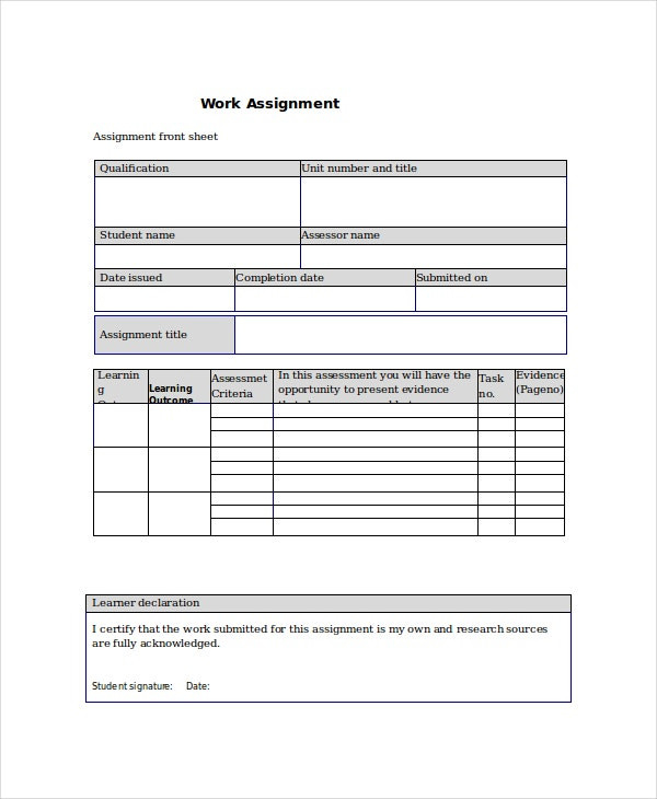 Project Assignment Template - 4+ Free Word, Pdf Documents  Blank  Assignment Sheet