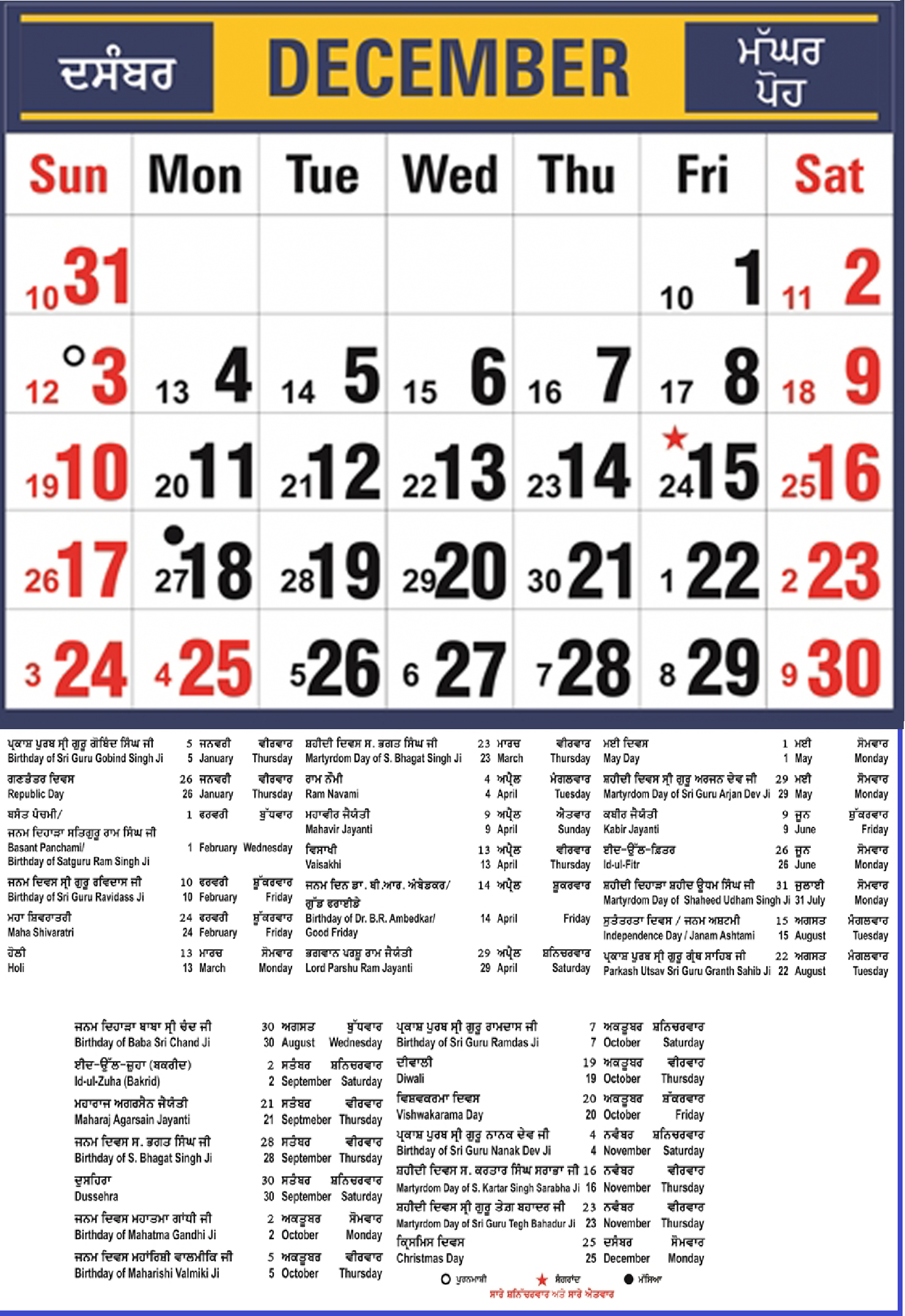 Punjabi Monthly Calendar Mobile View | Year  Punjabi Calendar